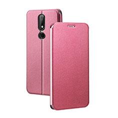 Custodia Portafoglio In Pelle con Supporto per Nokia X5 Rosso