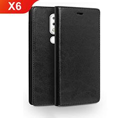 Custodia Portafoglio In Pelle con Supporto per Nokia X6 Nero