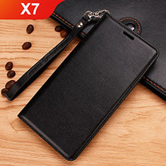 Custodia Portafoglio In Pelle con Supporto per Nokia X7 Nero