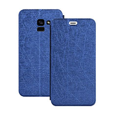 Custodia Portafoglio In Pelle con Supporto per Samsung Galaxy A5 (2018) A530F Blu
