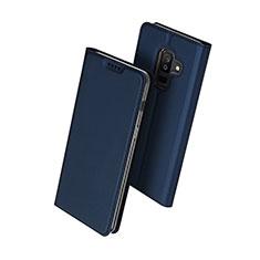 Custodia Portafoglio In Pelle con Supporto per Samsung Galaxy A6 Plus (2018) Blu