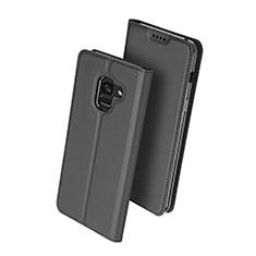 Custodia Portafoglio In Pelle con Supporto per Samsung Galaxy A8 (2018) Duos A530F Nero