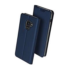 Custodia Portafoglio In Pelle con Supporto per Samsung Galaxy A8+ A8 Plus (2018) Duos A730F Blu