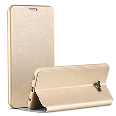 Custodia Portafoglio In Pelle con Supporto per Samsung Galaxy C7 Pro C7010 Oro
