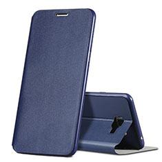 Custodia Portafoglio In Pelle con Supporto per Samsung Galaxy C7 SM-C7000 Blu
