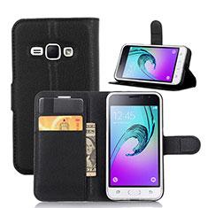 Custodia Portafoglio In Pelle con Supporto per Samsung Galaxy J1 (2016) J120F Nero