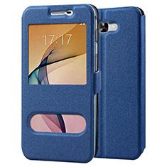Custodia Portafoglio In Pelle con Supporto per Samsung Galaxy J7 Prime Blu