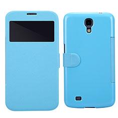 Custodia Portafoglio In Pelle con Supporto per Samsung Galaxy Mega 6.3 i9200 i9205 Blu