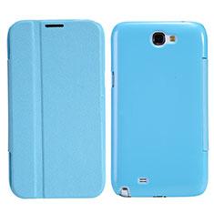 Custodia Portafoglio In Pelle con Supporto per Samsung Galaxy Note 2 N7100 N7105 Cielo Blu