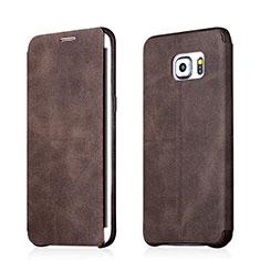Custodia Portafoglio In Pelle con Supporto per Samsung Galaxy S6 Edge+ Plus SM-G928F Marrone