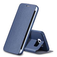 Custodia Portafoglio In Pelle con Supporto per Samsung Galaxy S6 Edge SM-G925 Blu