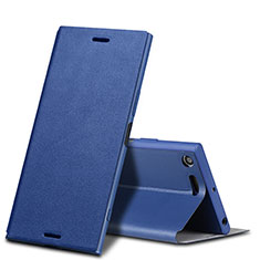 Custodia Portafoglio In Pelle con Supporto per Sony Xperia XZ Premium Blu
