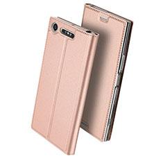 Custodia Portafoglio In Pelle con Supporto per Sony Xperia XZ1 Compact Oro Rosa