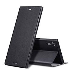 Custodia Portafoglio In Pelle con Supporto per Sony Xperia XZs Nero