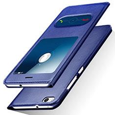 Custodia Portafoglio In Pelle con Supporto R01 per Huawei Honor 8 Lite Blu