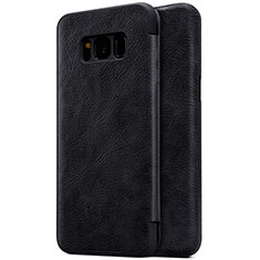 Custodia Portafoglio In Pelle con Supporto S01 per Samsung Galaxy S8 Nero