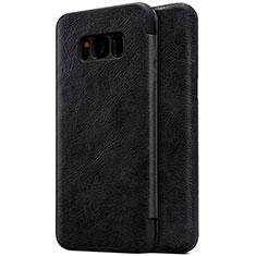 Custodia Portafoglio In Pelle con Supporto S01 per Samsung Galaxy S8 Plus Nero