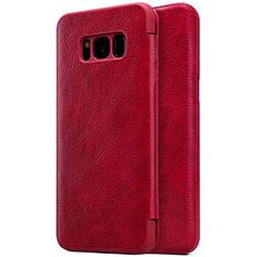 Custodia Portafoglio In Pelle con Supporto S01 per Samsung Galaxy S8 Plus Rosso
