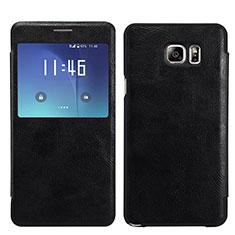 Custodia Portafoglio In Pelle con Supporto U01 per Samsung Galaxy S7 Edge G935F Nero