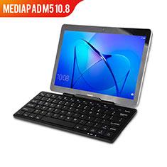 Custodia Portafoglio In Pelle con Tastiera L01 per Huawei MediaPad M5 10.8 Nero