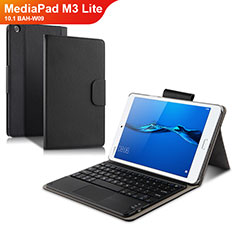 Custodia Portafoglio In Pelle con Tastiera L02 per Huawei MediaPad M3 Lite 10.1 BAH-W09 Nero