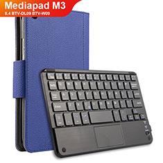 Custodia Portafoglio In Pelle con Tastiera per Huawei Mediapad M3 8.4 BTV-DL09 BTV-W09 Blu