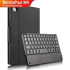 Custodia Portafoglio In Pelle con Tastiera per Huawei MediaPad M5 8.4 SHT-AL09 SHT-W09 Nero