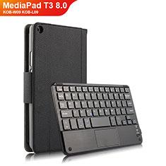 Custodia Portafoglio In Pelle con Tastiera per Huawei MediaPad T3 8.0 KOB-W09 KOB-L09 Nero