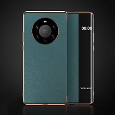 Custodia Portafoglio In Pelle Cover con Supporto F03 per Huawei Mate 40 Pro+ Plus Ciano