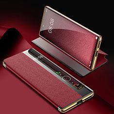 Custodia Portafoglio In Pelle Cover con Supporto K07 per Huawei Mate 40 Pro Rosso Rosa