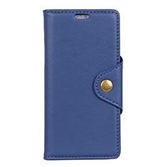 Custodia Portafoglio In Pelle Cover con Supporto L01 per Alcatel 1 Blu