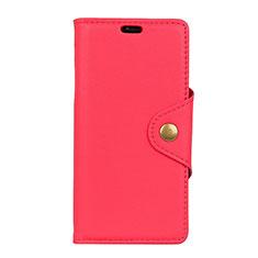Custodia Portafoglio In Pelle Cover con Supporto L01 per Alcatel 1 Rosso