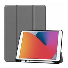 Custodia Portafoglio In Pelle Cover con Supporto L01 per Apple iPad 10.2 (2020) Grigio