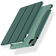 Custodia Portafoglio In Pelle Cover con Supporto L01 per Apple iPad Pro 12.9 (2020) Verde