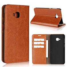 Custodia Portafoglio In Pelle Cover con Supporto L01 per Asus Zenfone 4 Selfie Pro Arancione