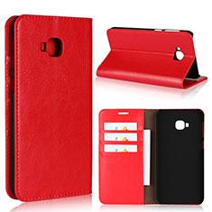 Custodia Portafoglio In Pelle Cover con Supporto L01 per Asus Zenfone 4 Selfie Pro Rosso