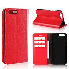 Custodia Portafoglio In Pelle Cover con Supporto L01 per Asus Zenfone 4 ZE554KL Rosso