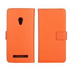 Custodia Portafoglio In Pelle Cover con Supporto L01 per Asus Zenfone 5 Arancione