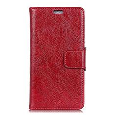 Custodia Portafoglio In Pelle Cover con Supporto L01 per Asus Zenfone 5 Lite ZC600KL Rosso