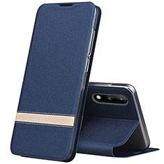 Custodia Portafoglio In Pelle Cover con Supporto L01 per Huawei Enjoy 10 Blu