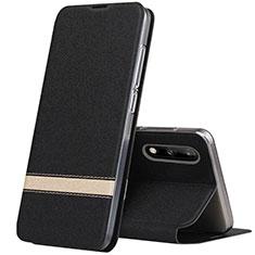 Custodia Portafoglio In Pelle Cover con Supporto L01 per Huawei Enjoy 10 Nero