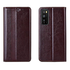 Custodia Portafoglio In Pelle Cover con Supporto L01 per Huawei Enjoy 20 Pro 5G Marrone