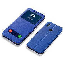 Custodia Portafoglio In Pelle Cover con Supporto L01 per Huawei Honor 10 Lite Blu