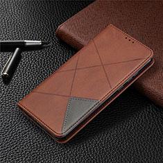 Custodia Portafoglio In Pelle Cover con Supporto L01 per Huawei Honor 9A Marrone