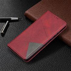 Custodia Portafoglio In Pelle Cover con Supporto L01 per Huawei Honor 9A Rosso