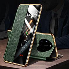 Custodia Portafoglio In Pelle Cover con Supporto L01 per Huawei Mate 40 RS Verde