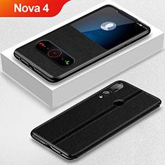 Custodia Portafoglio In Pelle Cover con Supporto L01 per Huawei Nova 4 Nero