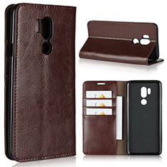 Custodia Portafoglio In Pelle Cover con Supporto L01 per LG G7 Marrone