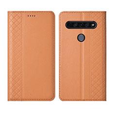 Custodia Portafoglio In Pelle Cover con Supporto L01 per LG K51S Arancione