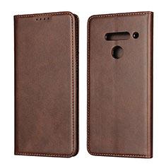 Custodia Portafoglio In Pelle Cover con Supporto L01 per LG V50 ThinQ 5G Marrone